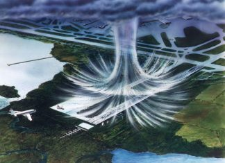 NASA artist's rendering of a microburst.