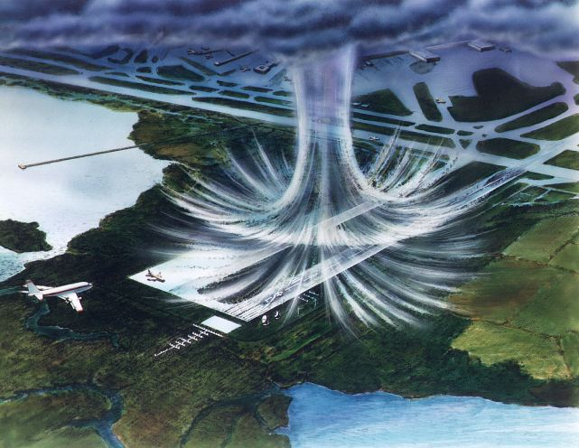 NASA artist's rendering of a microburst.