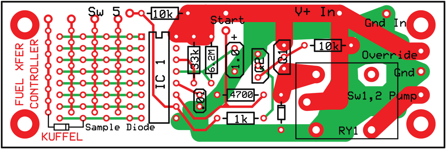 Figure 3. Board layout, Digital TDR Fuel Transfer Controller