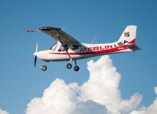 Glasair Merlin on its first test flight in Arlington, Washington.