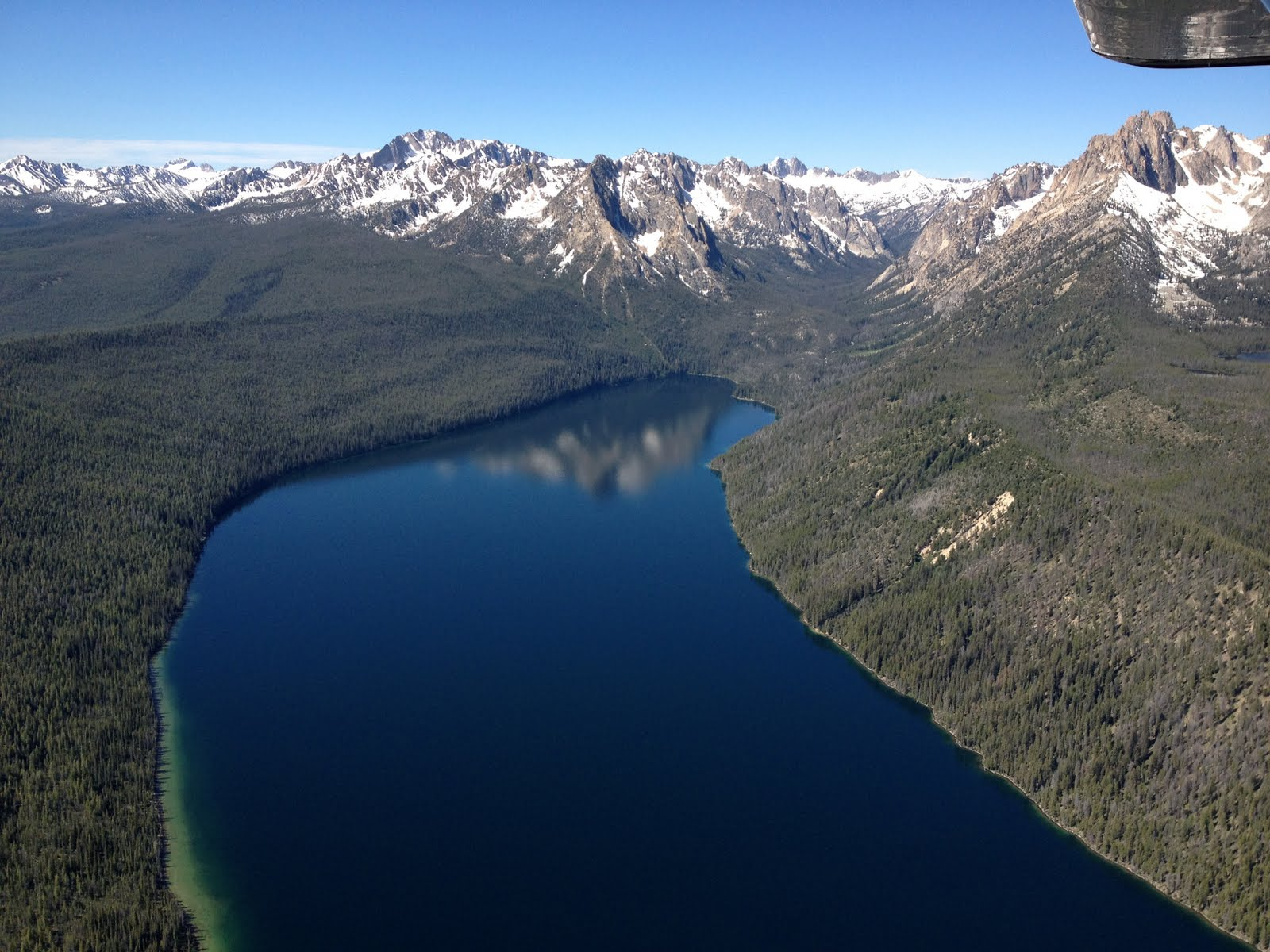 Redfish lake from the air
