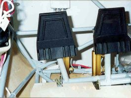 Aircraft Spruce rudder pedals in GlaStar