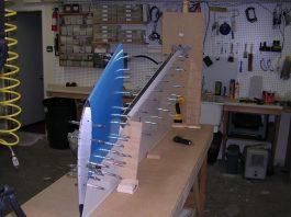 GlaStar rudder in the construction jig