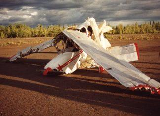 The mangled GlaStar wreckage.