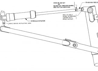Nose gear hydraulic actuator installation, Glasair III.