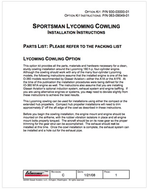 063-09049-01 Sportsman Lycoming Cowling Installation