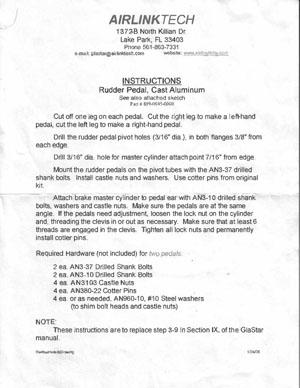 Airlink cast aluminum rudder pedals instructions 899-0045-0000