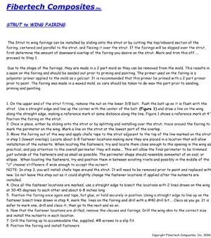 Fibertech Strut to Wing Fairing instructions