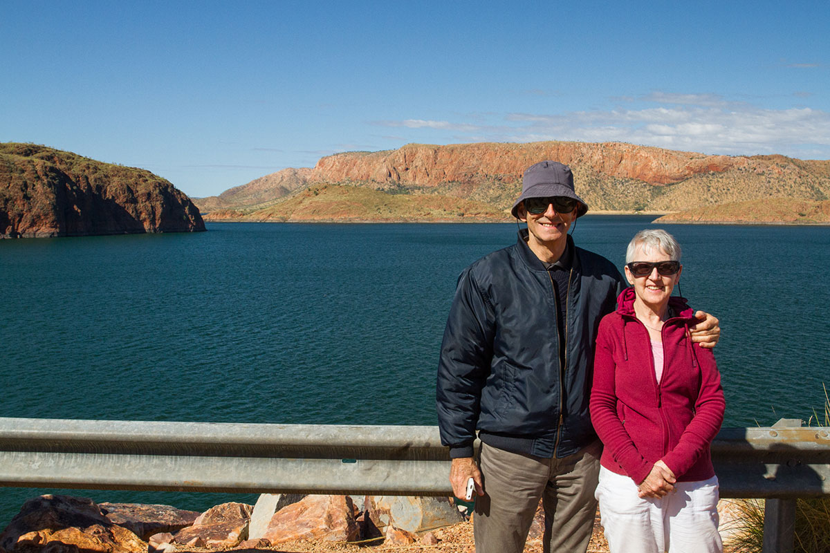 Terry with wife, Sue, at the Ord River Dam, Western Australia. Flew the length of it the next day. Reportedly holds 35000 crocodiles!