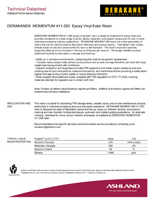 Derakane 411-350 Epoxy Vinyl Ester Technical Data Sheet