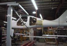 A GlaStar fuselage undergoing load testing at Glasair