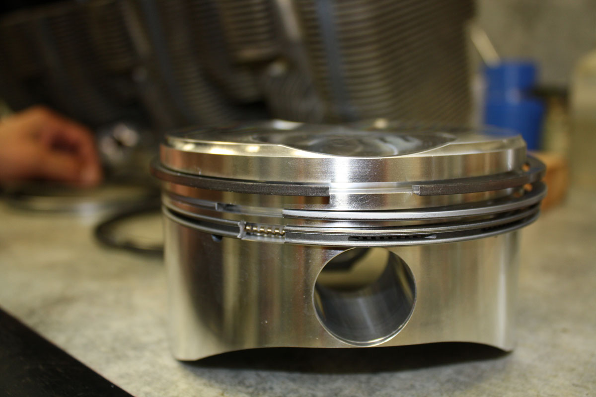 Superior XP-400 piston. Top two are compression rings and the bottom is the oil control ring.