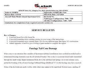 Sportsman Service Bulletin 074 - Fuselage Tail Cone Damage