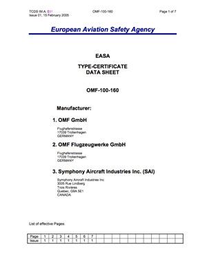OMF/SAI Symphony 100-160 EASA Type Certificate