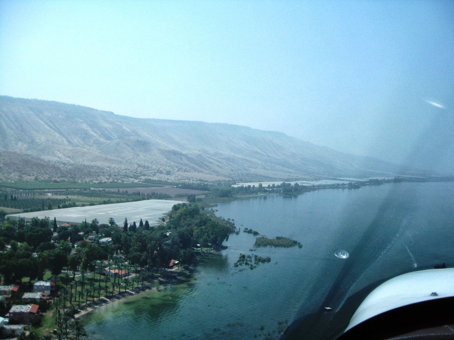 Flying along the east coast of the Sea of Galilee