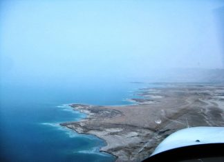 Flying along the west coast of the Dead Sea.