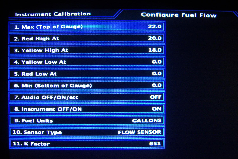 Advanced Flight Systems EFIS fuel flow calibration