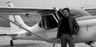 Carlos Emmons after the flight with Glauco Nuzzi.