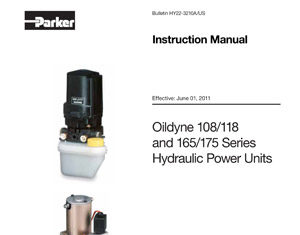 Oildyne 108/118 and 165/175 Series Hydraulic Power Units