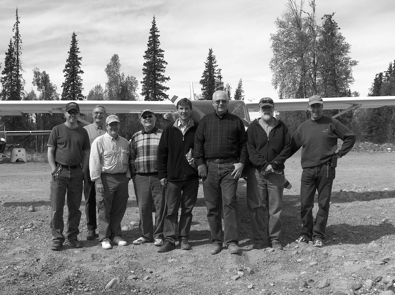 The group at Songlo Vista. Left to right - Ursel Scoles, Richard Eastman, Jeff Mitchell, Peter Cattoni, Frank Miskelly, Dave Prizio, Tom Borden, and Werner Schneider.