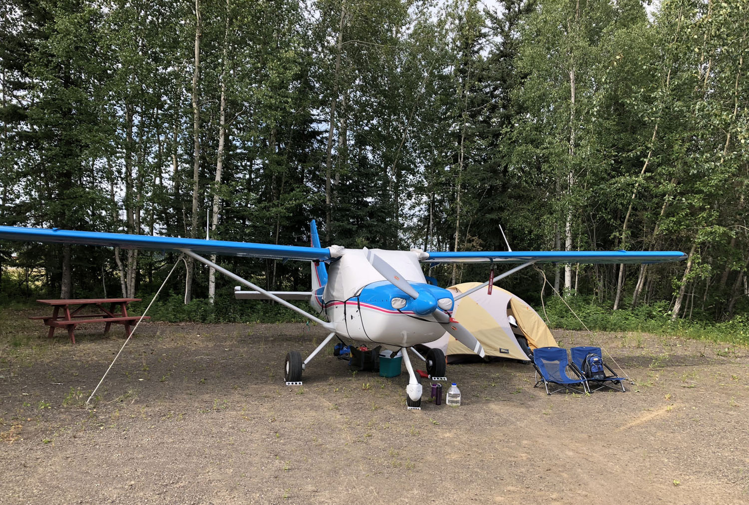 Fairbanks on-airport campground with hot showers, flush toilets, and bikes.