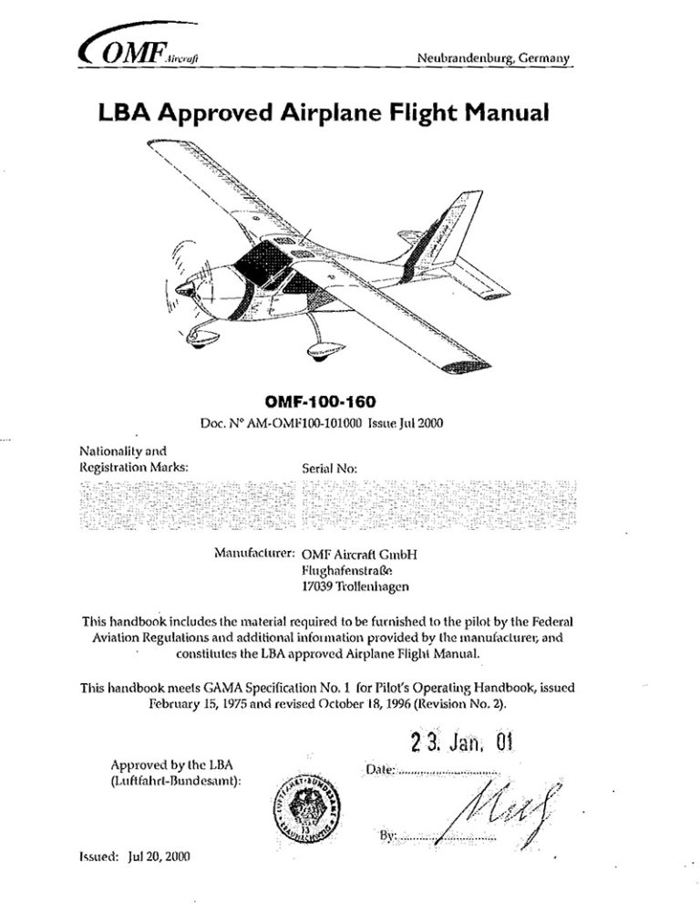 OMF Symphony 100-160 Airplane Flight Manual (POH)