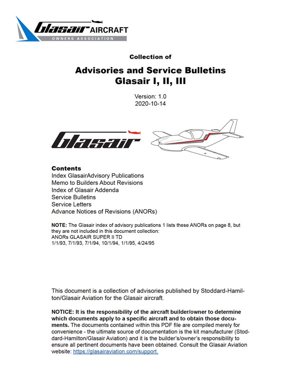 Collection of Advisories and Service Bulletins for Glasair I, II, III