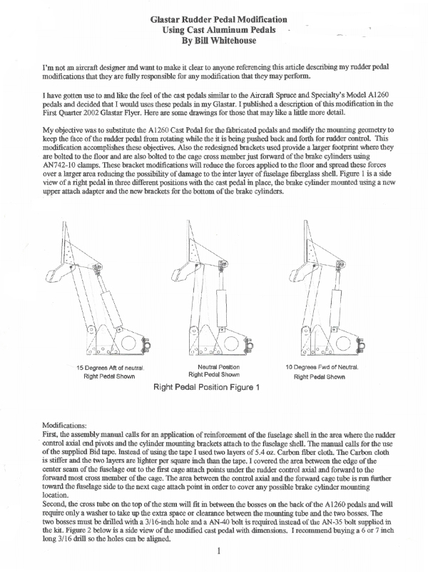 GlaStar Rudder Pedal Modification to Improve Geometry