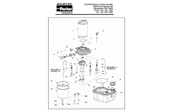 Oildyne Parker 108 Series Power Unit Generic Exploded View Drawing