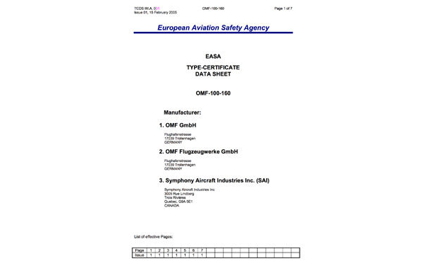 Symphony OMF-100-160 EASA Type Certificate Data Sheet