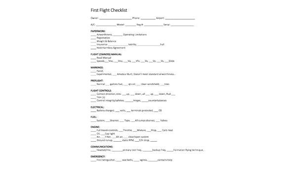 First Flight Checklist - GlaStar (Tim Johnson)