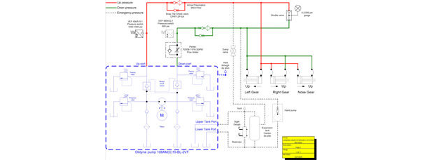 Glasair Landing Gear Hydraulic System Schematic