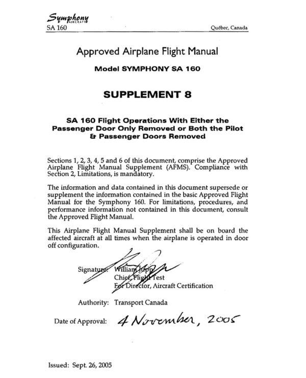 Symphony SA-160 Flight Manual Supplement 8